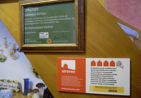 Bild Nr 14 - Plakette bei einer Ferienwohnung im Harz